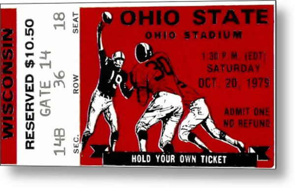 1979 Ohio State Vs Wisconsin Football Ticket Metal Print