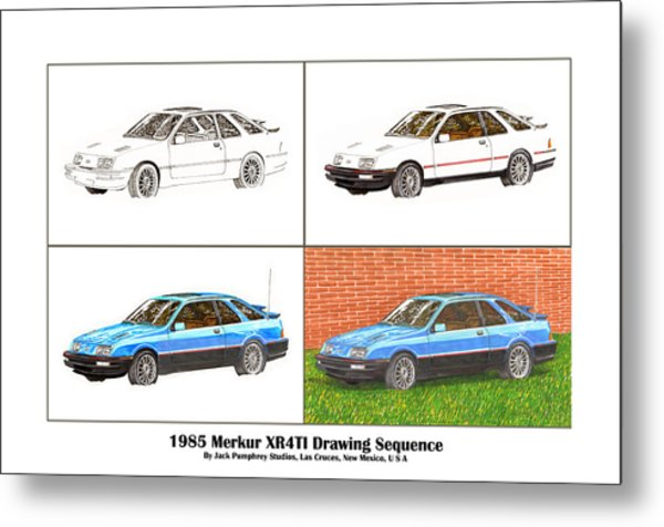 1985 Merkur Xr4ti Drawing Sequence Metal Print