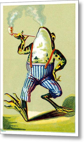 19th C. Pipe Smoking Frog Metal Print