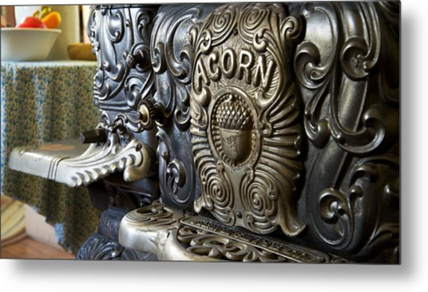 19th Century Acorn Cast Iron Stove White Pine Village Ludington Michigan Metal Print