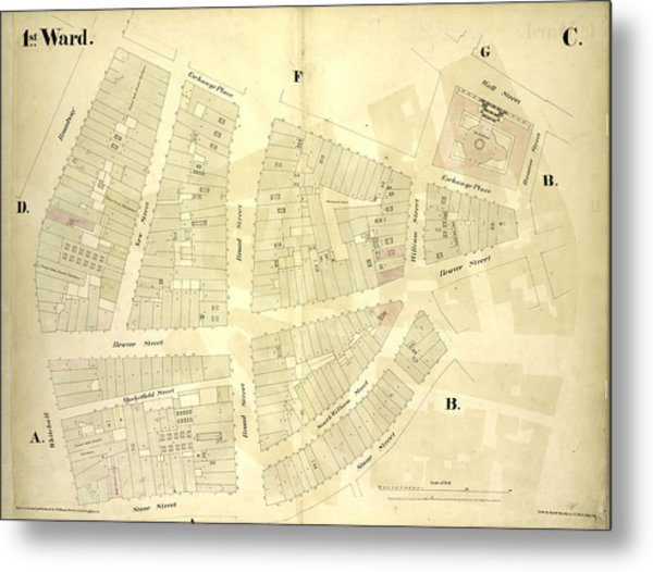 1st Ward. Plate C Map Bounded By Exchange Place, William Metal Print