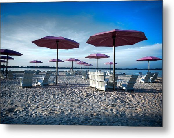 Umbrellas On The Beach Metal Print