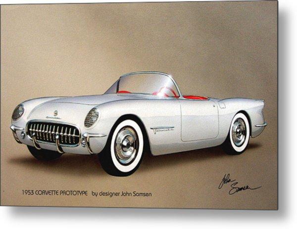 1953 Corvette Classic Vintage Sports Car Automotive Art Metal Print