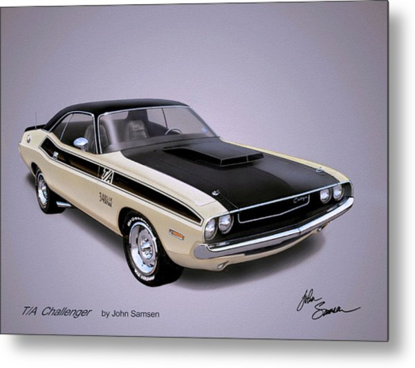 1970 Challenger T-a  Dodge Muscle Car Sketch Rendering Metal Print