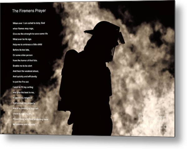 A Firemens Prayer Metal Print