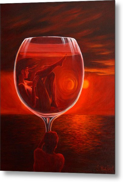 A Toast To Love And Wine Metal Print