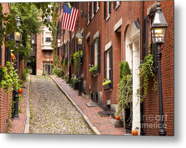 Metal Print featuring the photograph Acorn Street Boston by Brian Jannsen