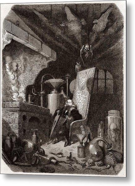 Alchemist At Work, 19th Century Metal Print