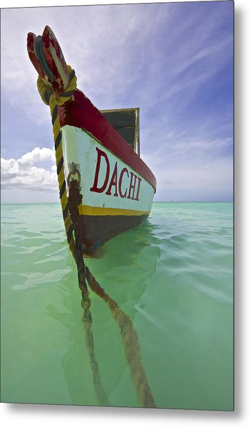 Anchored Colorful Fishing Boat Of Aruba II Metal Print