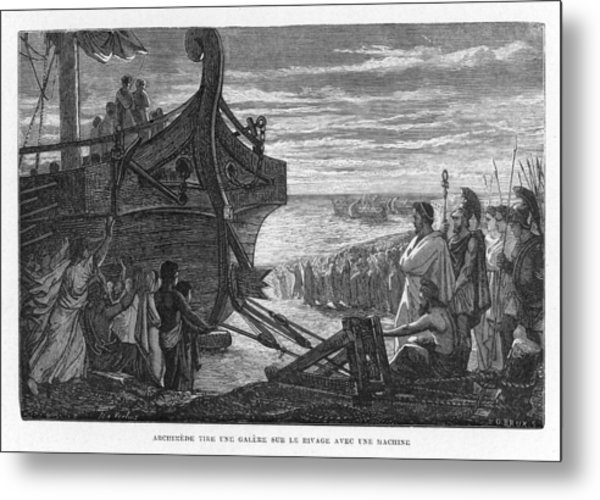 Archimedes, Greek Mathematician Metal Print by Mary Evans Picture Library