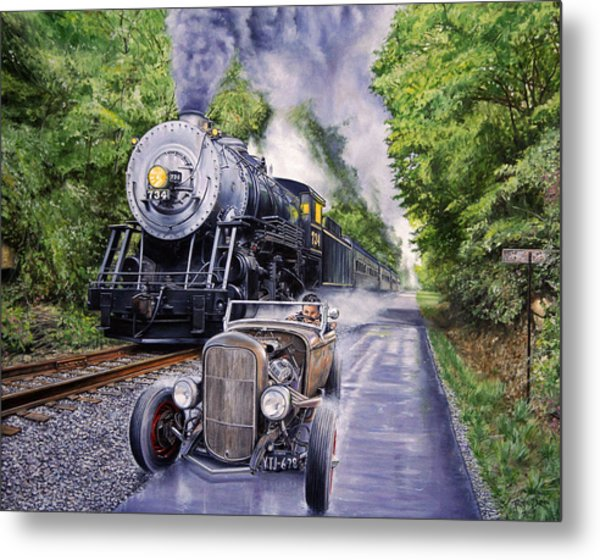 Backwoods Duel Metal Print by Ruben Duran