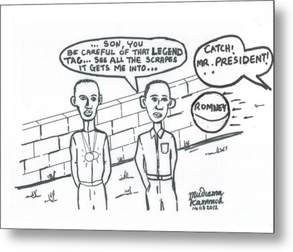 Barack Obama And Usain Bolt Cartoon Metal Print