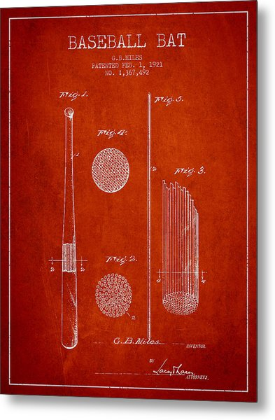 Baseball Bat Patent Drawing From 1921 Metal Print