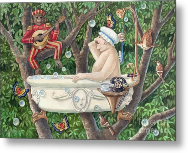 Bath Tub Serenade Metal Print by Ann Gates Fiser