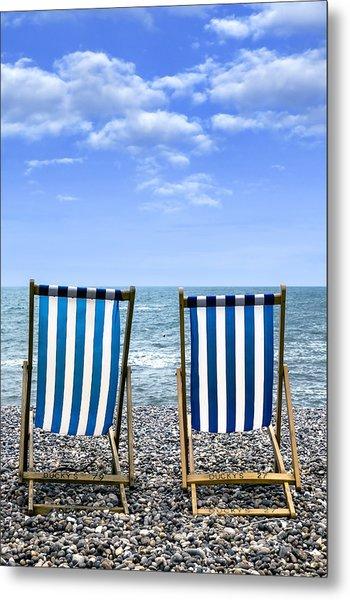 Beach Chairs Metal Print