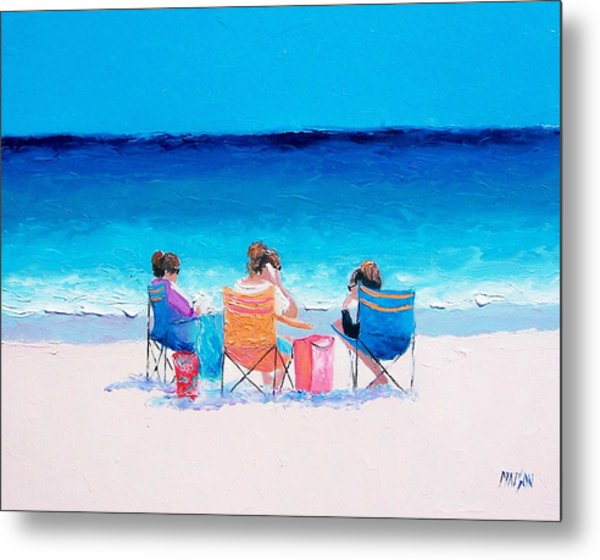 Beach Painting 'girl Friends' By Jan Matson Metal Print