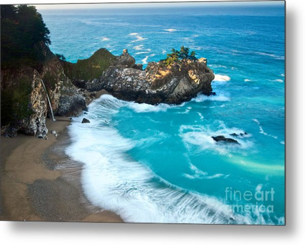 Beautiful Mcway Falls Along The Big Sur Coast. Metal Print
