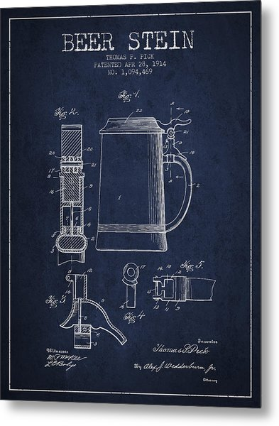 Beer Stein Patent From 1914 - Navy Blue Metal Print
