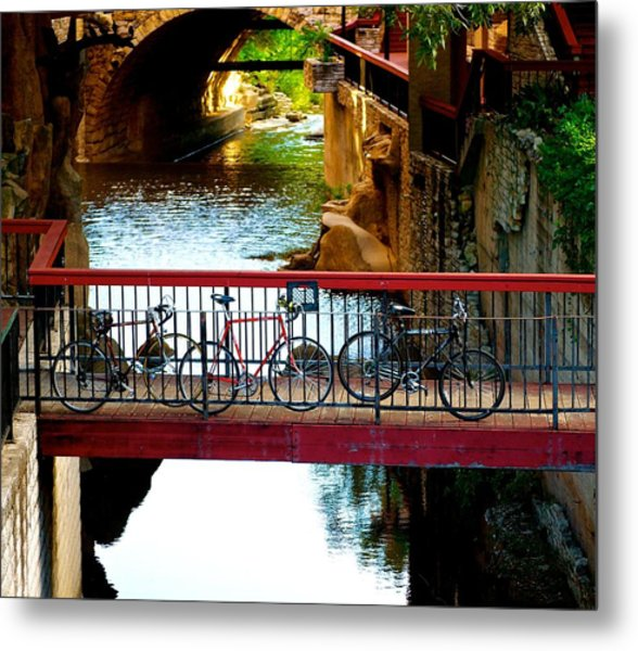 Bikes Over Waller Creek In Austin Metal Print