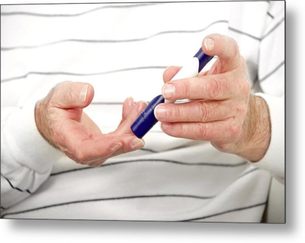 Blood Sugar Level Testing In Diabetes Metal Print by Lea Paterson/science Photo Library