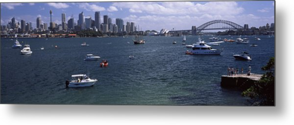 Boats In The Sea With A Bridge Metal Print