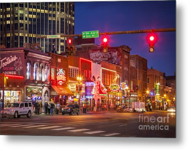 Metal Print featuring the photograph Broadway Street Nashville by Brian Jannsen