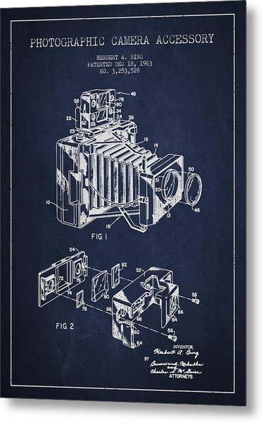 Camera Patent Drawing From 1963 Metal Print
