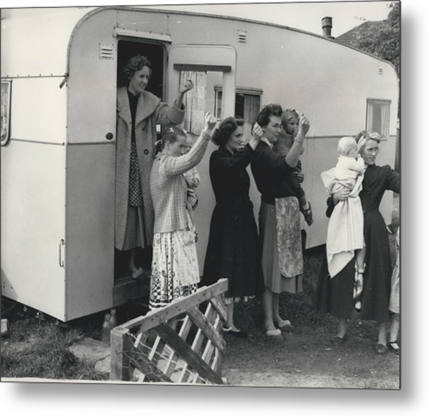 Caravan Site Eviction Force Withdraws Metal Print by Retro Images Archive