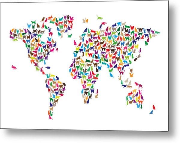 Cats Map Of The World Map Metal Print by Michael Tompsett