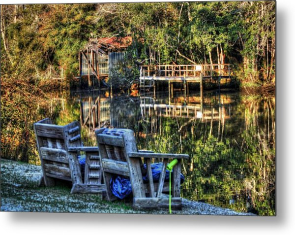 2 Chairs On The Magnolia River Metal Print
