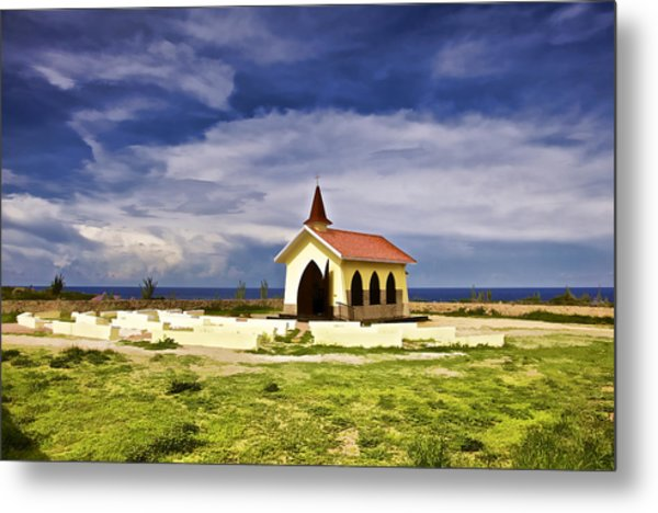 Chapel By The Sea Metal Print
