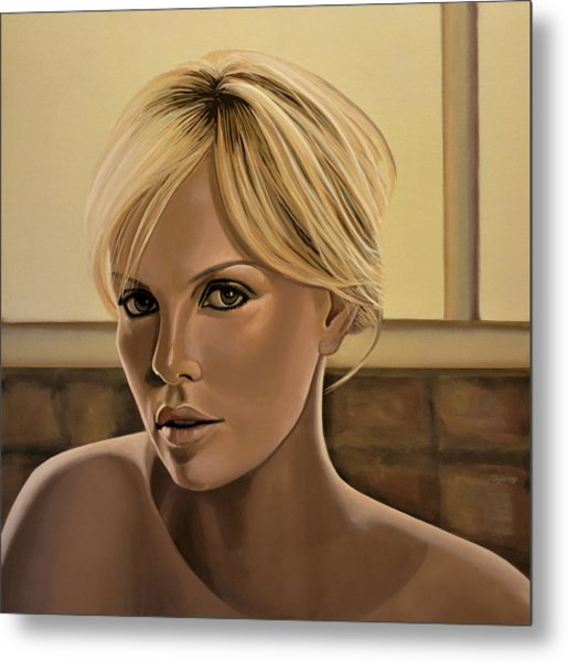 Charlize Theron Painting Metal Print