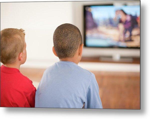 Children Watching Television Metal Print