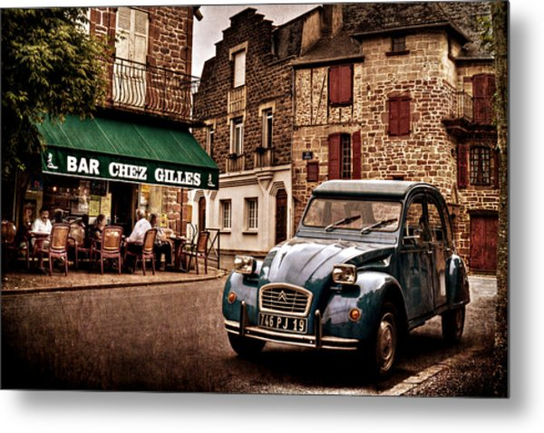 Metal Print featuring the photograph Citroen 2cv In French Village / Meyssac by Barry O Carroll