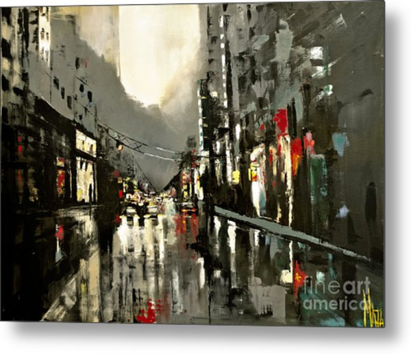 Cityscape Oil Painting Metal Print
