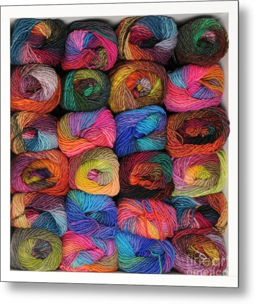 Colorful Knitting Yarn Metal Print
