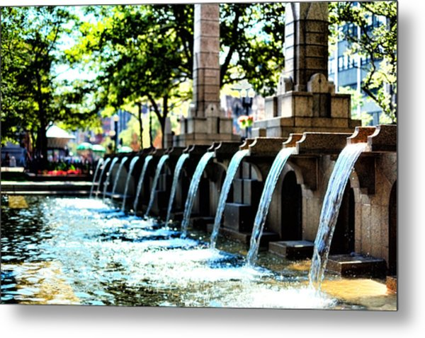 Copley Square Fountain In Boston Metal Print