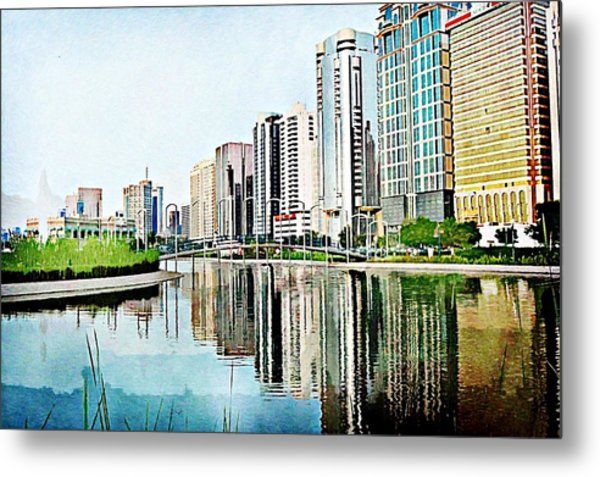 Corniche Gardens Metal Print by Peter Waters