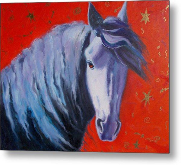 Cosmic Horse Metal Print by Pixie Glore