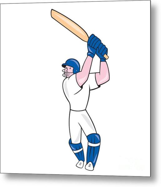 Cricket Player Batsman Batting Cartoon Metal Print