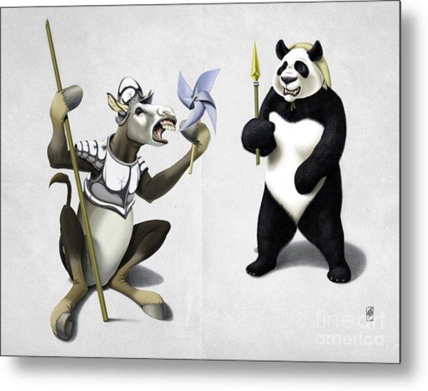Donkey Xote And Sancho Panda Wordless Metal Print