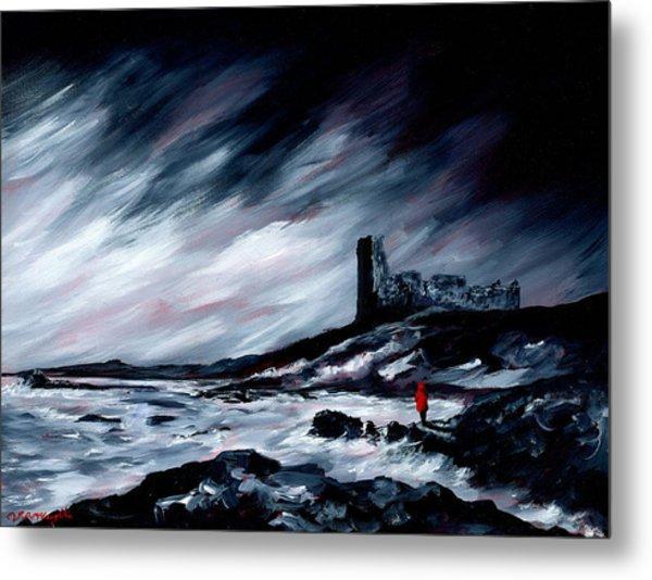 Dunure Red Coat Metal Print by J P McLaughlin