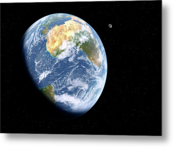 Earth And Moon From Space Metal Print by Detlev Van Ravenswaay