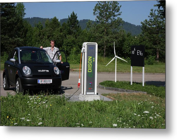 Electric Car And Charger Metal Print