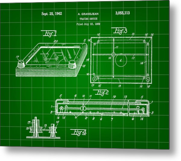 Etch A Sketch Patent 1959 - Green Metal Print