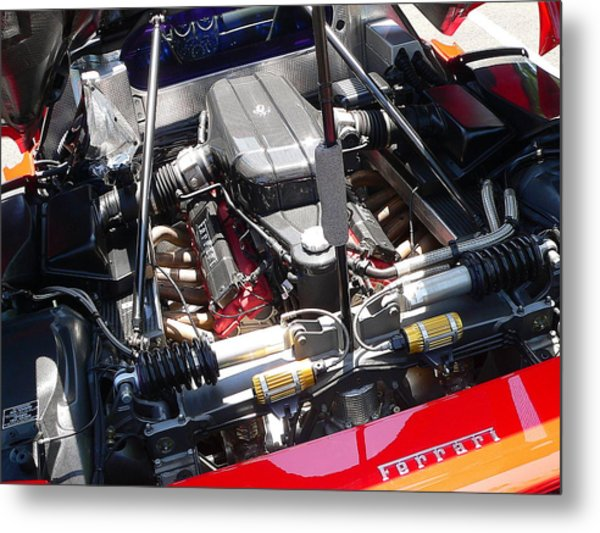Metal Print featuring the photograph Ferrari Engine by Jeff Lowe