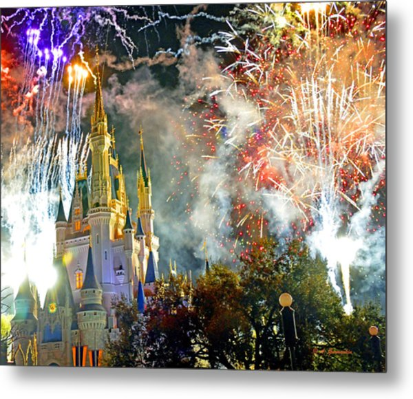 Fireworks Cinderellas Castle Walt Disney World Metal Print