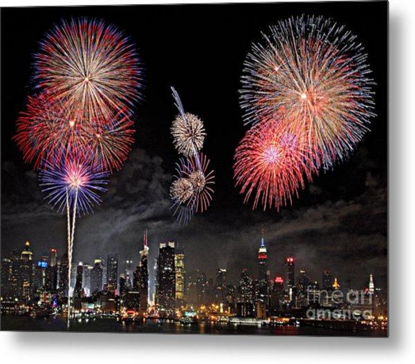 Fireworks Over New York City Metal Print