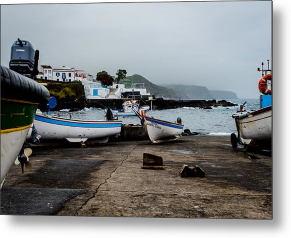 Fishing Boats On Wharf With View Of Houses  Metal Print