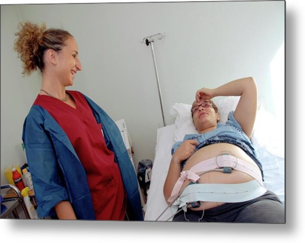 Foetal Monitoring In Prelabour Ward Metal Print by Aj Photo/science Photo Library